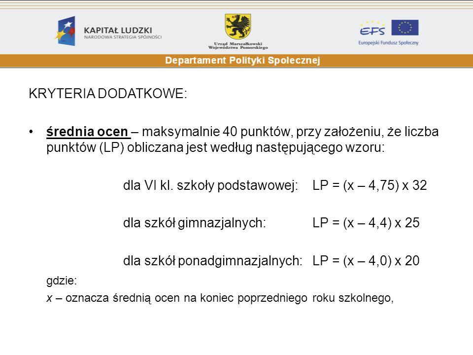 KRYTERIA DODATKOWE: średnia ocen – maksymalnie 40 punktów, przy założeniu, że liczba punktów (LP) obliczana jest według następującego wzoru: dla VI kl