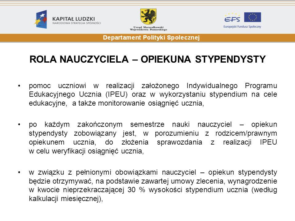 PROCEDURA PRZYZNAWANIA STYPENDIUM weryfikacja formalna wniosków - Departament Polityki Społecznej Urzędu Marszałkowskiego Województwa Pomorskiego (odrzucane są wnioski źle wypełnione, niekompletne, nie spełniające wymogów określonych w Regulaminie Programu sporządzenie listy wniosków zaakceptowanych (zaczynając od wniosku ucznia, który otrzymał największą liczbę punktów ustaloną zgodnie z kryteriami określonymi w Regulaminie Programu) oraz listy wniosków odrzuconych prace Komisji Stypendialnej (sporządzenie listy stypendystów i listy rezerwowej