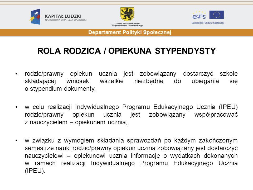 Maksymalna liczba punktów wynosi 110 Stypendia będą przyznawane z zachowaniem zasady konkurencyjności między uczniami w skali całego regionu.