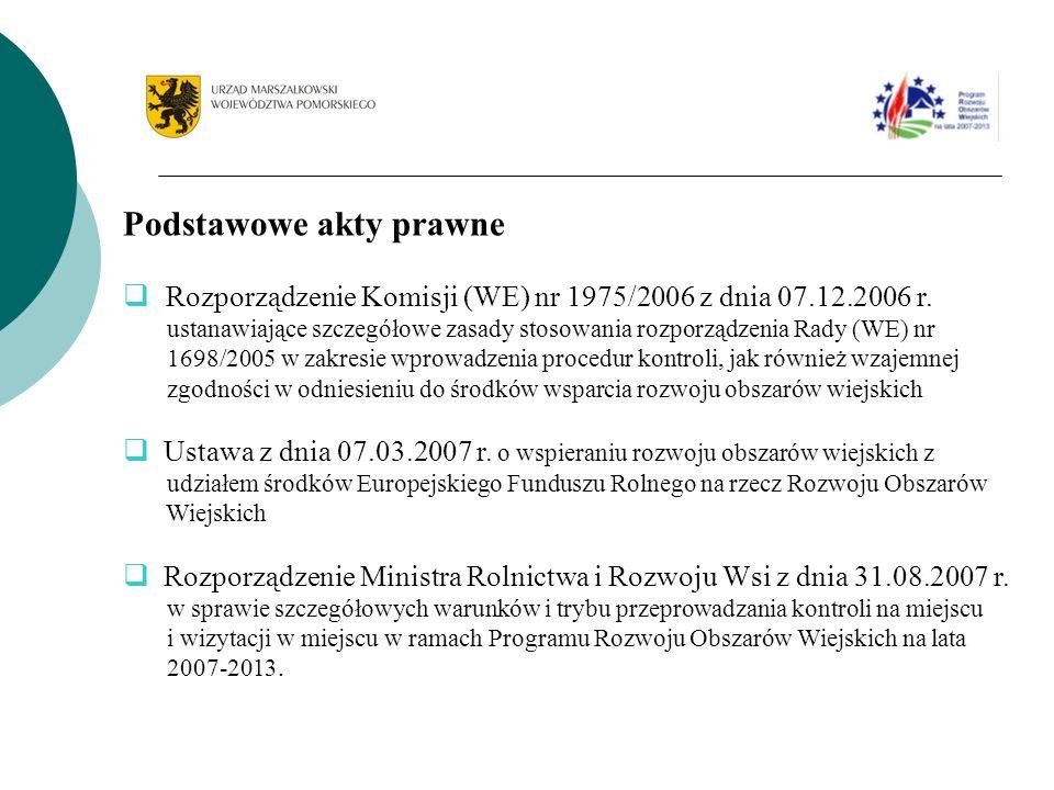 Podstawowe akty prawne Rozporządzenie Komisji (WE) nr 1975/2006 z dnia 07.12.2006 r. ustanawiające szczegółowe zasady stosowania rozporządzenia Rady (