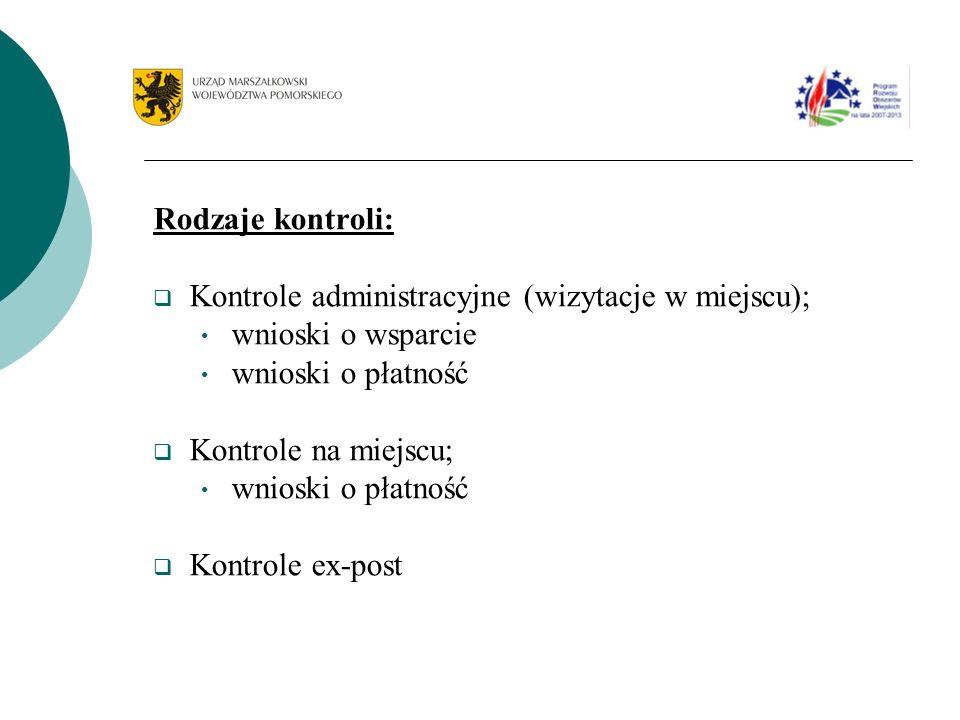 Rodzaje kontroli: Kontrole administracyjne (wizytacje w miejscu); wnioski o wsparcie wnioski o płatność Kontrole na miejscu; wnioski o płatność Kontrole ex-post