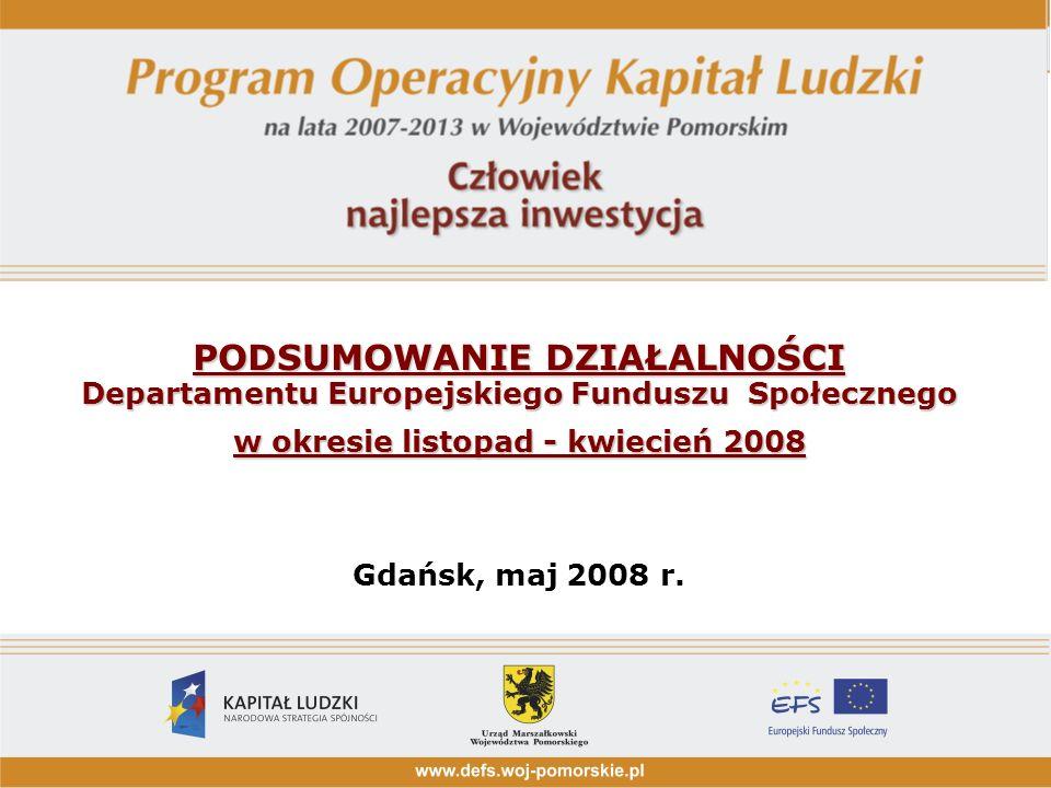 PODSUMOWANIE DZIAŁALNOŚCI Departamentu Europejskiego Funduszu Społecznego w okresie listopad - kwiecień 2008 PODSUMOWANIE DZIAŁALNOŚCI Departamentu Europejskiego Funduszu Społecznego w okresie listopad - kwiecień 2008 Gdańsk, maj 2008 r.