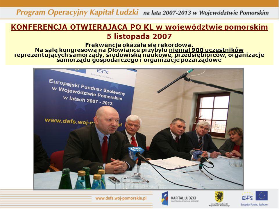 KONFERENCJA OTWIERAJĄCA PO KL w województwie pomorskim 5 listopada 2007 Frekwencja okazała się rekordowa.