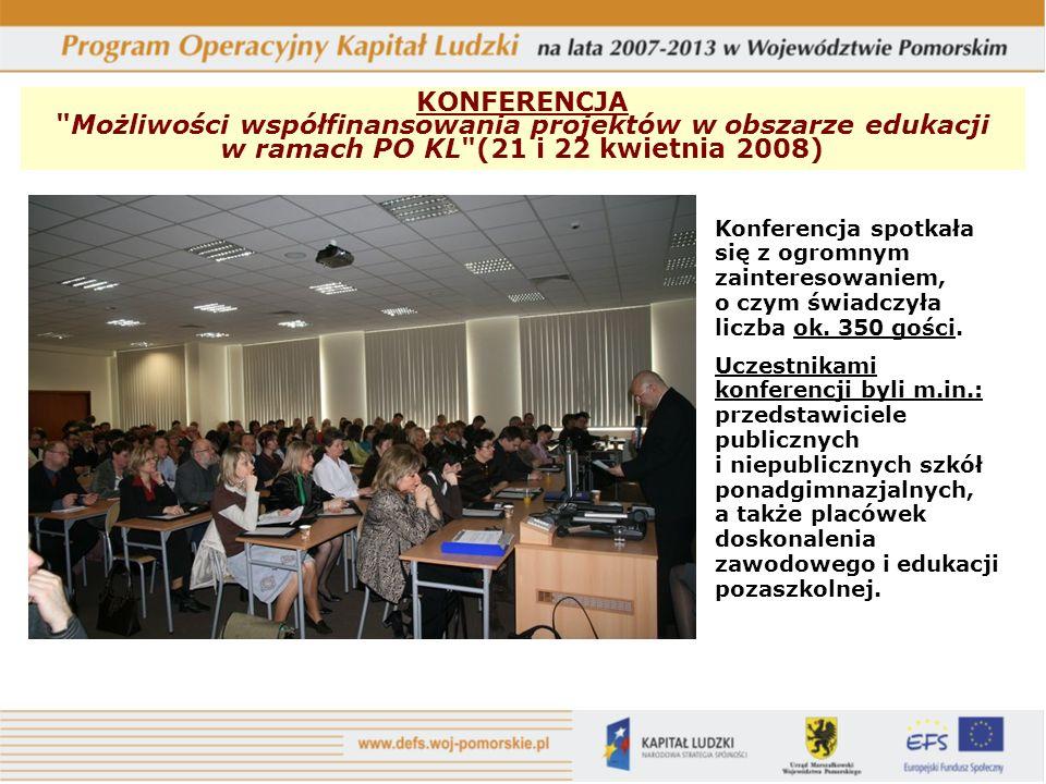 KONFERENCJA Możliwości współfinansowania projektów w obszarze edukacji w ramach PO KL (21 i 22 kwietnia 2008) Konferencja spotkała się z ogromnym zainteresowaniem, o czym świadczyła liczba ok.