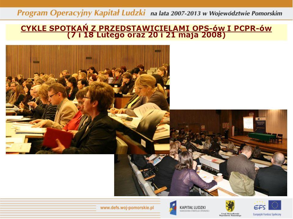 CYKLE SPOTKAŃ Z PRZEDSTAWICIELAMI OPS-ów I PCPR-ów (7 i 18 Lutego oraz 20 i 21 maja 2008)