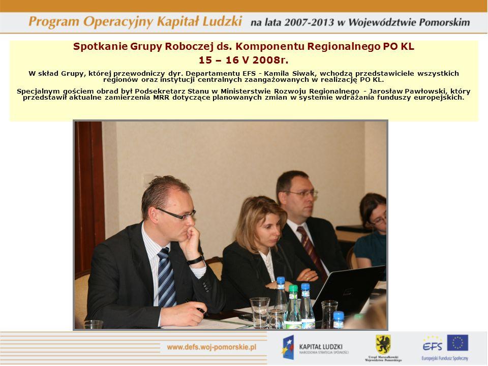 Spotkanie Grupy Roboczej ds. Komponentu Regionalnego PO KL 15 – 16 V 2008r.