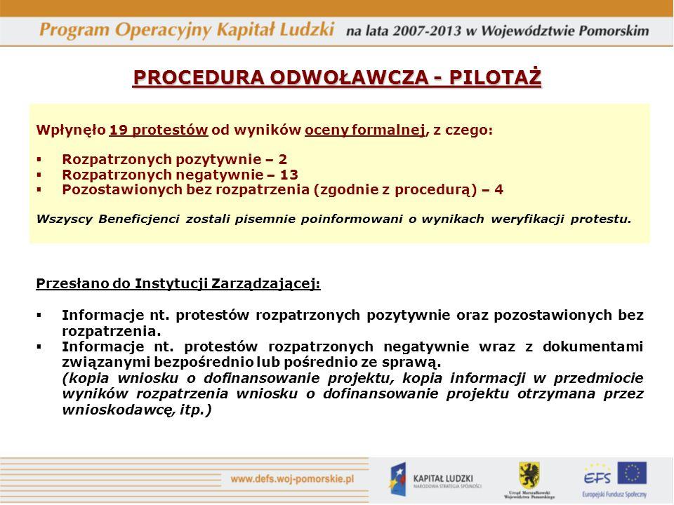 PROCEDURA ODWOŁAWCZA - PILOTAŻ Przesłano do Instytucji Zarządzającej: Informacje nt.