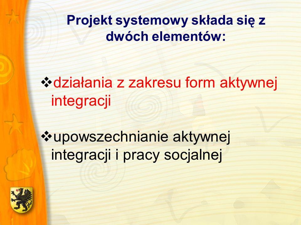 Projekt systemowy składa się z dwóch elementów: działania z zakresu form aktywnej integracji upowszechnianie aktywnej integracji i pracy socjalnej