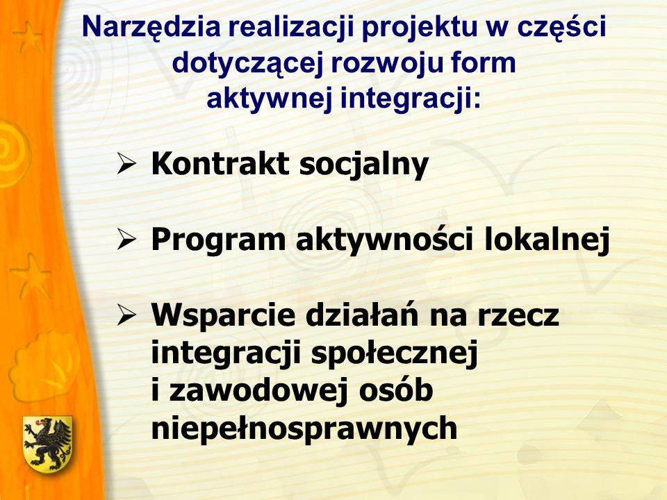 Narzędzia realizacji projektu w części dotyczącej rozwoju form aktywnej integracji: Kontrakt socjalny Program aktywności lokalnej Wsparcie działań na rzecz integracji społecznej i zawodowej osób niepełnosprawnych