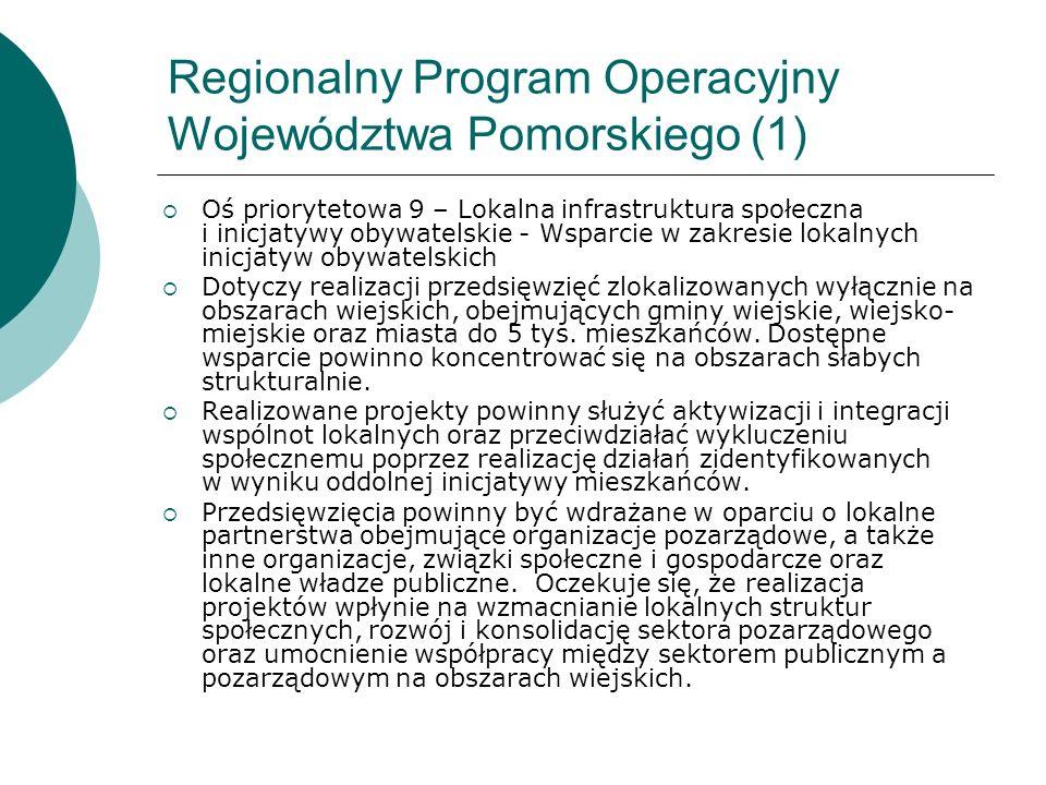 Regionalny Program Operacyjny Województwa Pomorskiego (1) Oś priorytetowa 9 – Lokalna infrastruktura społeczna i inicjatywy obywatelskie - Wsparcie w
