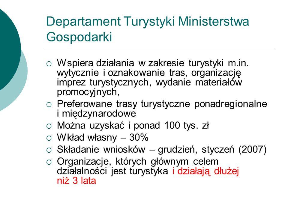 Departament Turystyki Ministerstwa Gospodarki Wspiera działania w zakresie turystyki m.in. wytycznie i oznakowanie tras, organizację imprez turystyczn