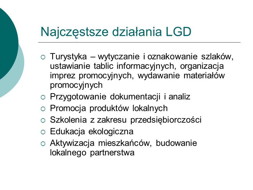 Najczęstsze działania LGD Turystyka – wytyczanie i oznakowanie szlaków, ustawianie tablic informacyjnych, organizacja imprez promocyjnych, wydawanie m