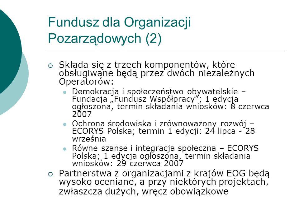 Fundusz dla Organizacji Pozarządowych (2) Składa się z trzech komponentów, które obsługiwane będą przez dwóch niezależnych Operatorów: Demokracja i sp