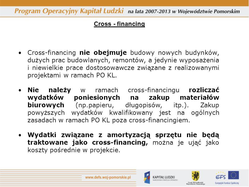 Cross - financing Cross-financing nie obejmuje budowy nowych budynków, dużych prac budowlanych, remontów, a jedynie wyposażenia i niewielkie prace dostosowawcze związane z realizowanymi projektami w ramach PO KL.