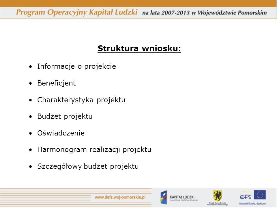 Struktura wniosku: Informacje o projekcie Beneficjent Charakterystyka projektu Budżet projektu Oświadczenie Harmonogram realizacji projektu Szczegółowy budżet projektu