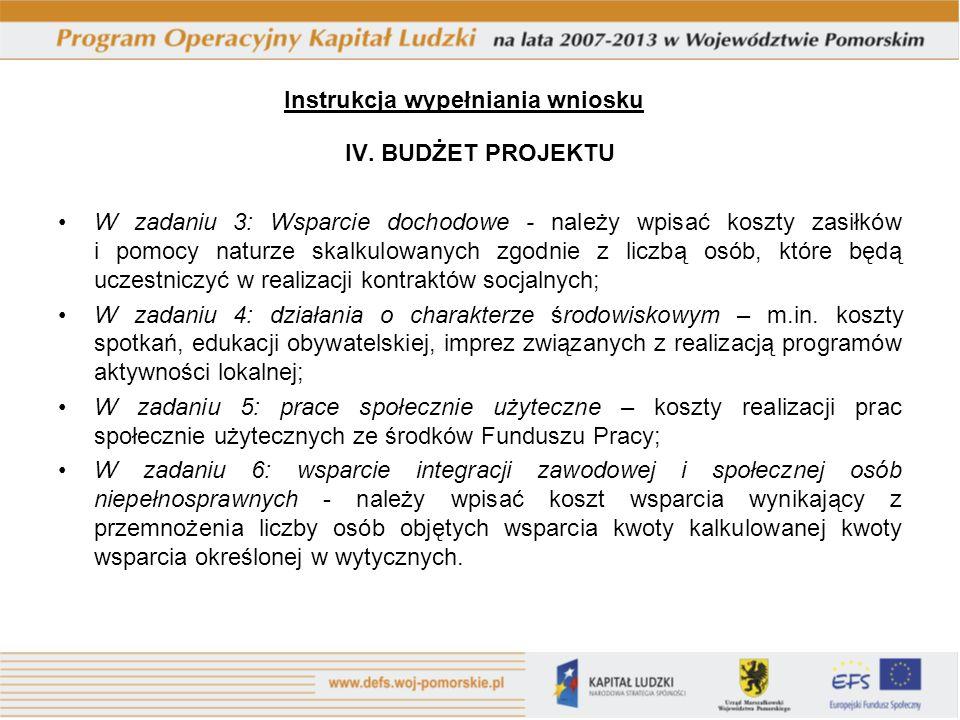 IV. BUDŻET PROJEKTU W zadaniu 3: Wsparcie dochodowe - należy wpisać koszty zasiłków i pomocy naturze skalkulowanych zgodnie z liczbą osób, które będą