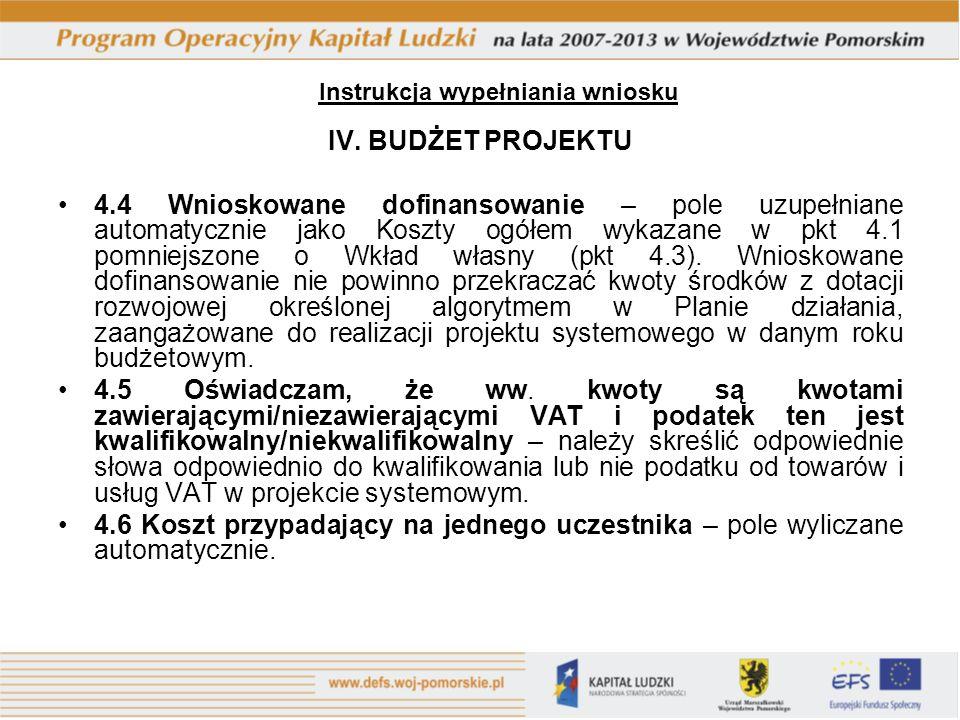 IV. BUDŻET PROJEKTU 4.4 Wnioskowane dofinansowanie – pole uzupełniane automatycznie jako Koszty ogółem wykazane w pkt 4.1 pomniejszone o Wkład własny