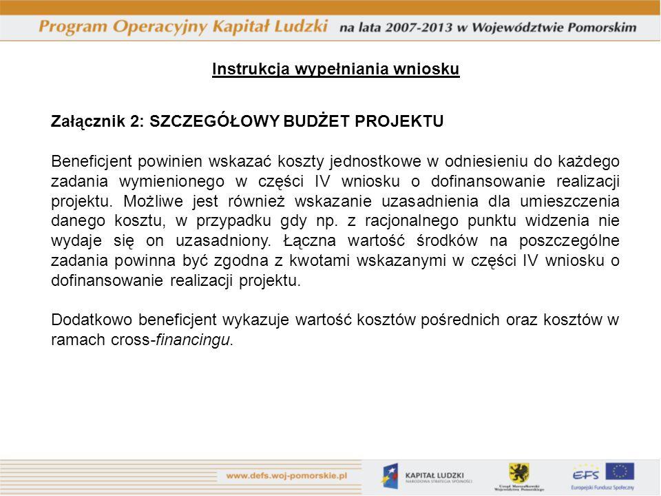 Załącznik 2: SZCZEGÓŁOWY BUDŻET PROJEKTU Beneficjent powinien wskazać koszty jednostkowe w odniesieniu do każdego zadania wymienionego w części IV wniosku o dofinansowanie realizacji projektu.
