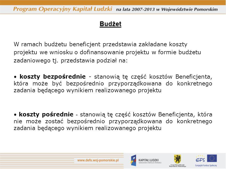 W ramach budżetu beneficjent przedstawia zakładane koszty projektu we wniosku o dofinansowanie projektu w formie budżetu zadaniowego tj.