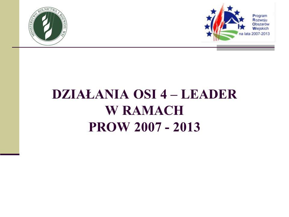 DZIAŁANIA OSI 4 – LEADER W RAMACH PROW 2007 - 2013