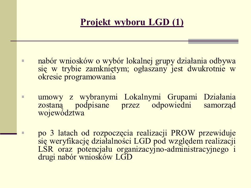 Projekt wyboru LGD (1) nabór wniosków o wybór lokalnej grupy działania odbywa się w trybie zamkniętym; ogłaszany jest dwukrotnie w okresie programowania umowy z wybranymi Lokalnymi Grupami Działania zostaną podpisane przez odpowiedni samorząd województwa po 3 latach od rozpoczęcia realizacji PROW przewiduje się weryfikację działalności LGD pod względem realizacji LSR oraz potencjału organizacyjno-administracyjnego i drugi nabór wniosków LGD