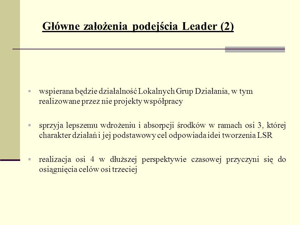Główne założenia podejścia Leader (2) wspierana będzie działalność Lokalnych Grup Działania, w tym realizowane przez nie projekty współpracy sprzyja lepszemu wdrożeniu i absorpcji środków w ramach osi 3, której charakter działań i jej podstawowy cel odpowiada idei tworzenia LSR realizacja osi 4 w dłuższej perspektywie czasowej przyczyni się do osiągnięcia celów osi trzeciej