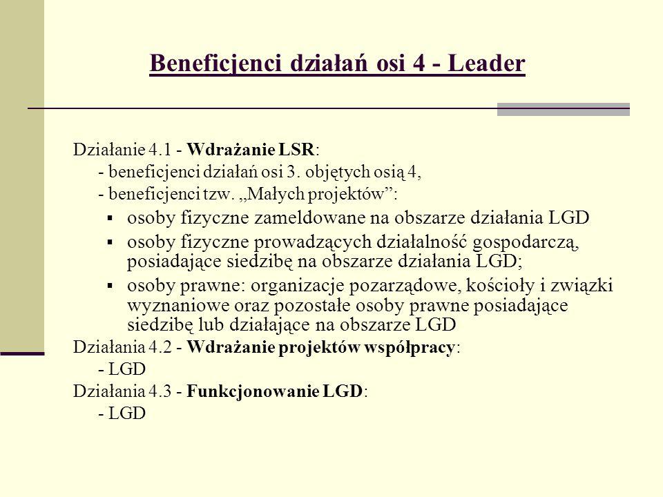 Zasady finansowania w podejściu Leader Działanie 4.1 Wdrażanie LSR (Małe projekty) - maksymalna wysokość dofinansowania kosztów kwalifikowalnych: 25 000 PLN - całkowita wartość projektu nie może przekraczać 100 000 PLN - 70% kosztów kwalifikowalnych Działanie 4.2 Wdrażanie projektów współpracy - pomoc jednorazowa - możliwość realizacji projektu w etapach -100 % kosztów kwalifikowalnych Działanie 4.3 Funkcjonowanie LGD - pomoc jednorazowa z wielokrotną płatnością - możliwość realizacji projektu w etapach - 100% kosztów kwalifikowalnych