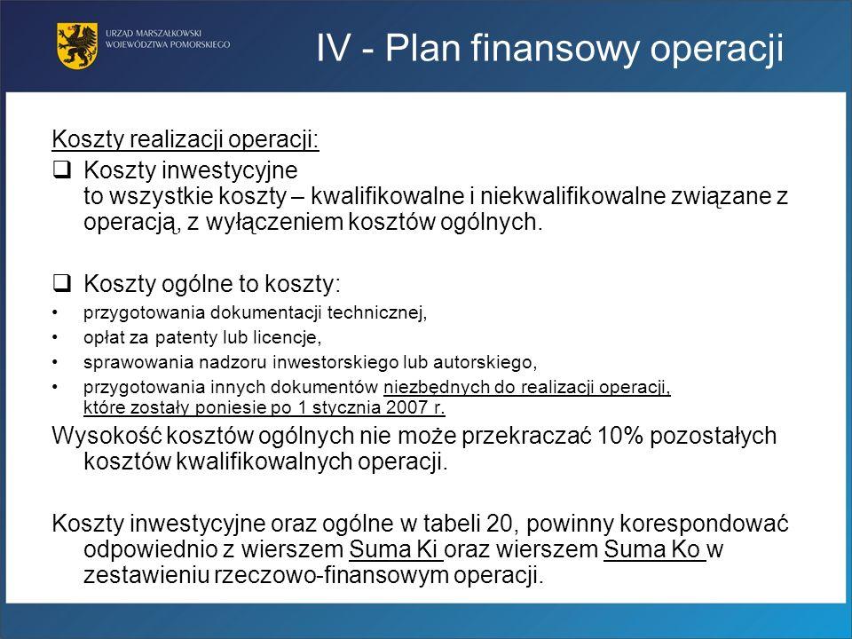 Koszty realizacji operacji: Koszty inwestycyjne to wszystkie koszty – kwalifikowalne i niekwalifikowalne związane z operacją, z wyłączeniem kosztów og
