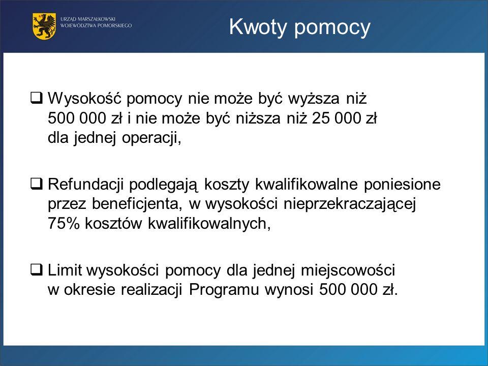 Kwoty pomocy Wysokość pomocy nie może być wyższa niż 500 000 zł i nie może być niższa niż 25 000 zł dla jednej operacji, Refundacji podlegają koszty k