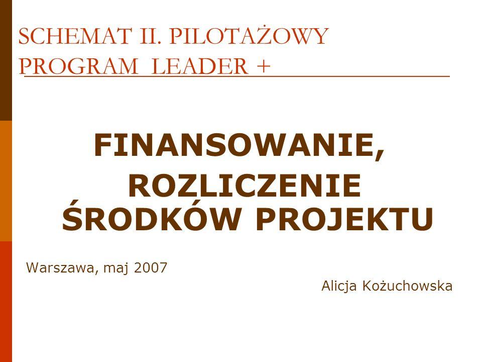 SCHEMAT II. PILOTAŻOWY PROGRAM LEADER + FINANSOWANIE, ROZLICZENIE ŚRODKÓW PROJEKTU Warszawa, maj 2007 Alicja Kożuchowska
