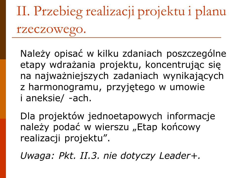 II. Przebieg realizacji projektu i planu rzeczowego. Należy opisać w kilku zdaniach poszczególne etapy wdrażania projektu, koncentrując się na najważn