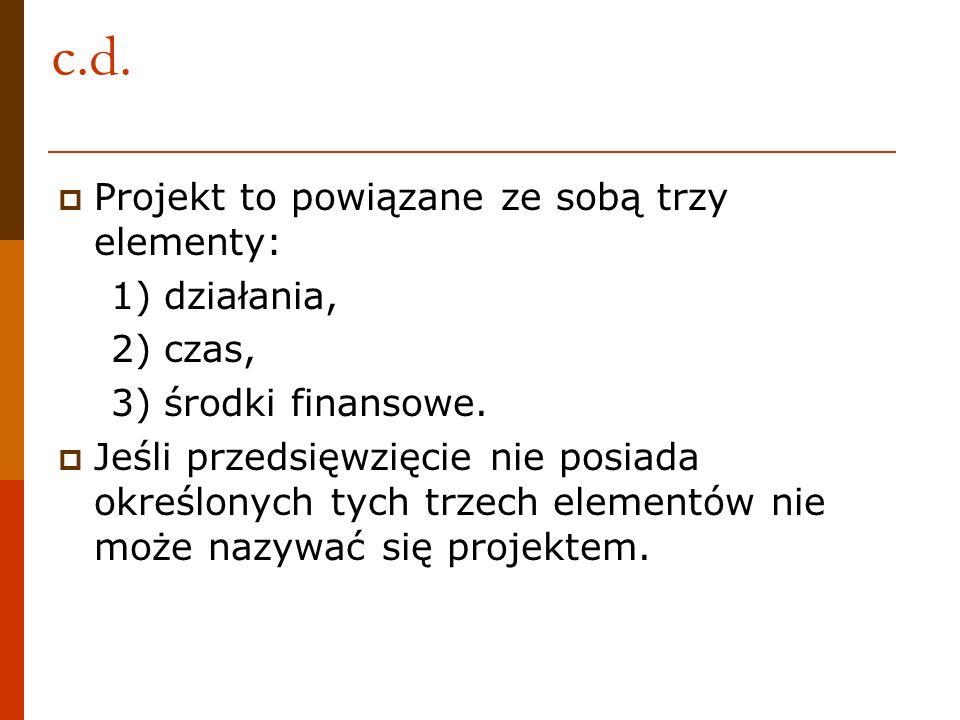 c.d. Projekt to powiązane ze sobą trzy elementy: 1) działania, 2) czas, 3) środki finansowe. Jeśli przedsięwzięcie nie posiada określonych tych trzech