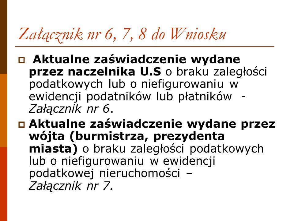 Załącznik nr 6, 7, 8 do Wniosku Aktualne zaświadczenie wydane przez naczelnika U.S o braku zaległości podatkowych lub o niefigurowaniu w ewidencji pod