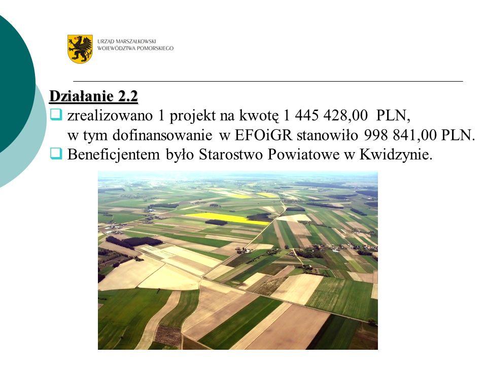 Działanie 2.2 zrealizowano 1 projekt na kwotę 1 445 428,00 PLN, w tym dofinansowanie w EFOiGR stanowiło 998 841,00 PLN. Beneficjentem było Starostwo P