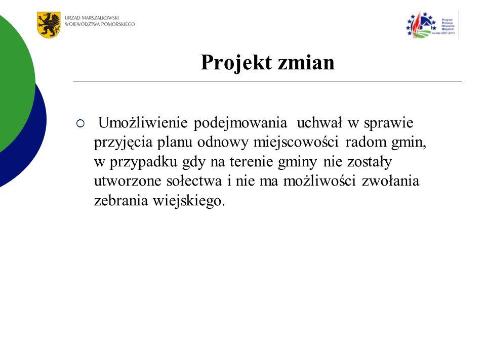 Projekt zmian Umożliwienie podejmowania uchwał w sprawie przyjęcia planu odnowy miejscowości radom gmin, w przypadku gdy na terenie gminy nie zostały