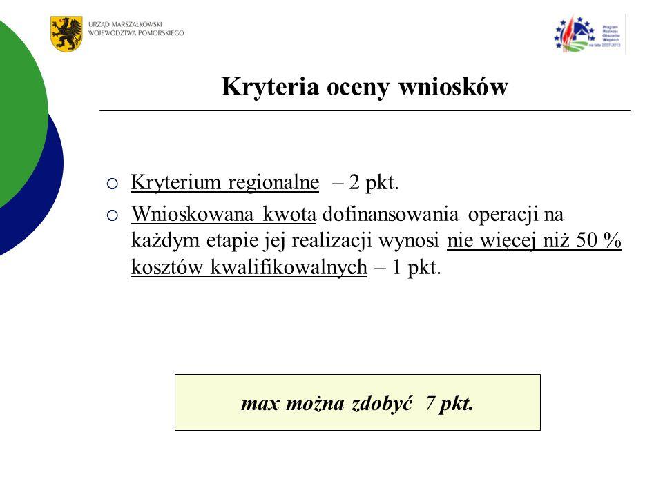 Kryteria oceny wniosków Kryterium regionalne – 2 pkt.