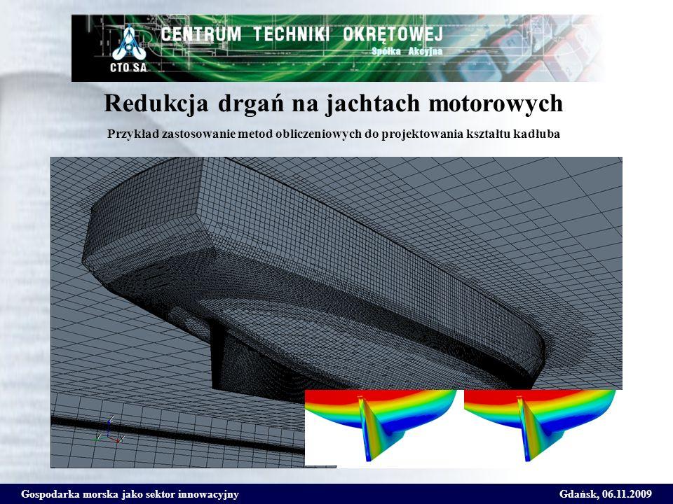 Gospodarka morska jako sektor innowacyjnyGdańsk, 06.11.2009 Redukcja drgań na jachtach motorowych Przykład zastosowanie metod obliczeniowych do projek