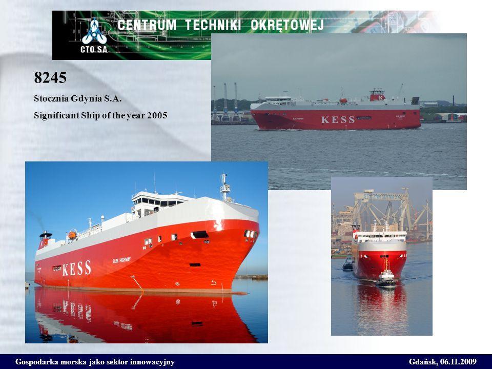 Gospodarka morska jako sektor innowacyjnyGdańsk, 06.11.2009 8245 Stocznia Gdynia S.A. Significant Ship of the year 2005