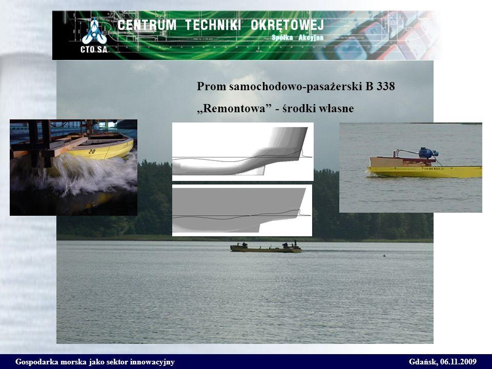 Gospodarka morska jako sektor innowacyjnyGdańsk, 06.11.2009 Prom samochodowo-pasażerski B 338 Remontowa - środki własne