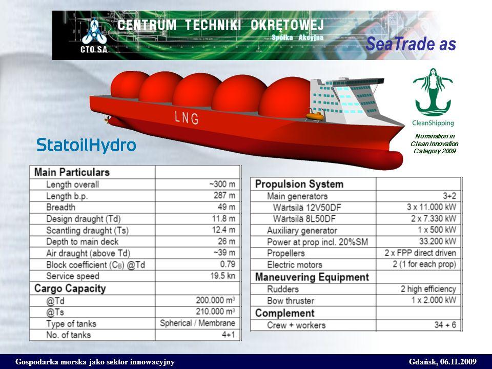 Gospodarka morska jako sektor innowacyjnyGdańsk, 06.11.2009 SeaTrade as Nomination in Clean Innovation Category 2009