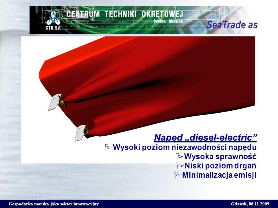 Gospodarka morska jako sektor innowacyjnyGdańsk, 06.11.2009 SeaTrade as Napęd diesel-electric Wysoki poziom niezawodności napędu Wysoka sprawność Nisk