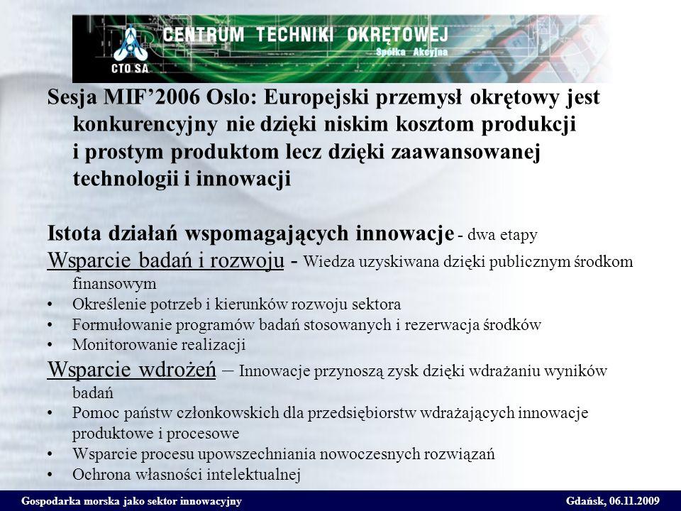 Gospodarka morska jako sektor innowacyjnyGdańsk, 06.11.2009 Sesja MIF2006 Oslo: Europejski przemysł okrętowy jest konkurencyjny nie dzięki niskim kosz