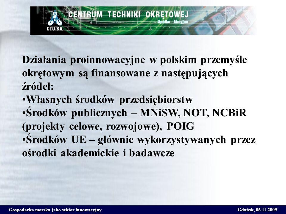 Gospodarka morska jako sektor innowacyjnyGdańsk, 06.11.2009 Działania proinnowacyjne w polskim przemyśle okrętowym są finansowane z następujących źród
