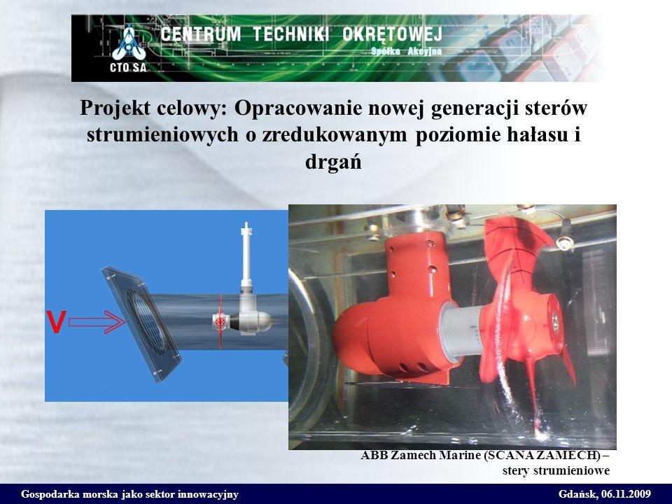 Gospodarka morska jako sektor innowacyjnyGdańsk, 06.11.2009 Projekt celowy: Opracowanie nowej generacji sterów strumieniowych o zredukowanym poziomie hałasu i drgań ABB Zamech Marine (SCANA ZAMECH) stery strumieniowe