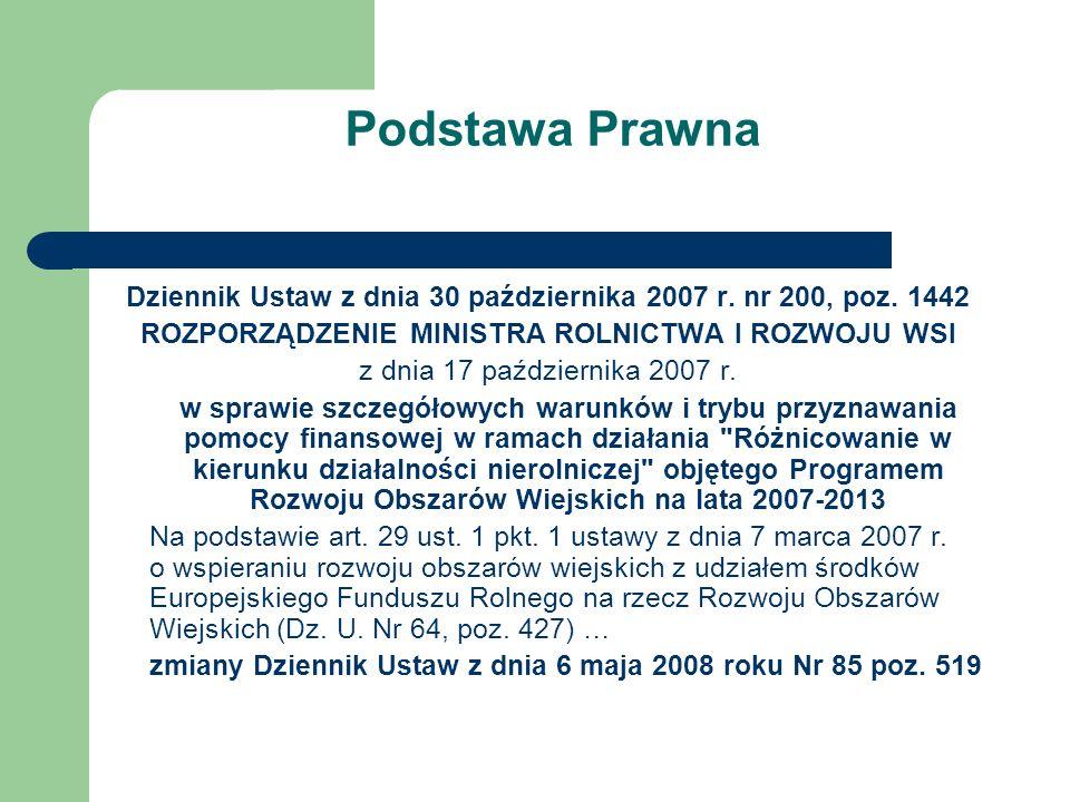 Podstawa Prawna Dziennik Ustaw z dnia 30 października 2007 r. nr 200, poz. 1442 ROZPORZĄDZENIE MINISTRA ROLNICTWA I ROZWOJU WSI z dnia 17 października