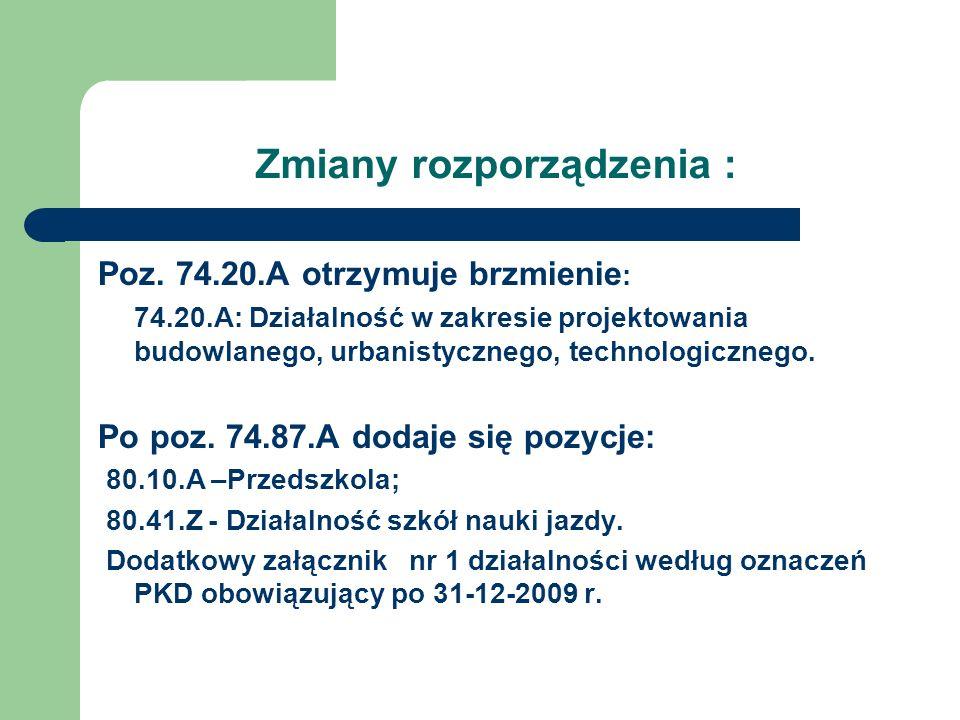 Zmiany rozporządzenia : Poz. 74.20.A otrzymuje brzmienie : 74.20.A: Działalność w zakresie projektowania budowlanego, urbanistycznego, technologiczneg