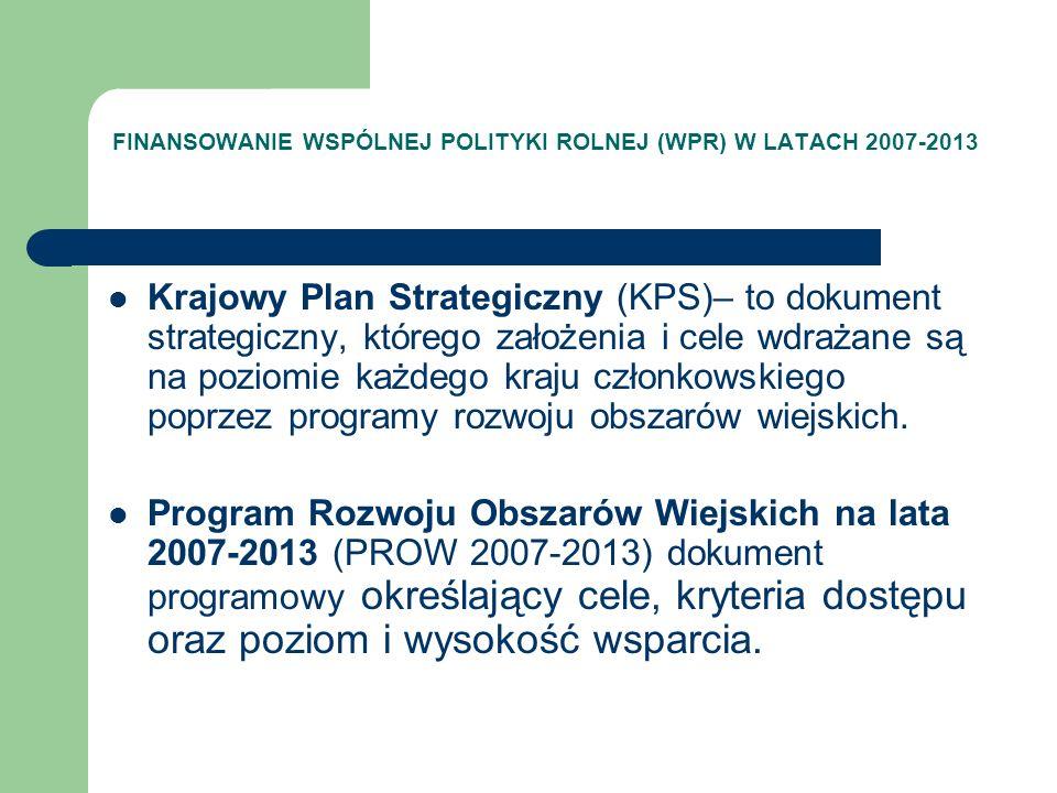 FINANSOWANIE WSPÓLNEJ POLITYKI ROLNEJ (WPR) W LATACH 2007-2013 PODSTAWY PRAWNE Ustawa o wspieraniu rozwoju obszarów wiejskich z udziałem środków Europejskiego Funduszu Rolnego na rzecz Rozwoju Obszarów Wiejskich Rozporządzenia wykonawcze do każdego z działań PROW 2007-2013 (Ministra Rolnictwa i Rozwoju Wsi) – w sprawie szczegółowych warunków i trybu przyznawania pomocy finansowej w ramach działania (…) objętego Programem Rozwoju Obszarów Wiejskich na lata 2007-2013