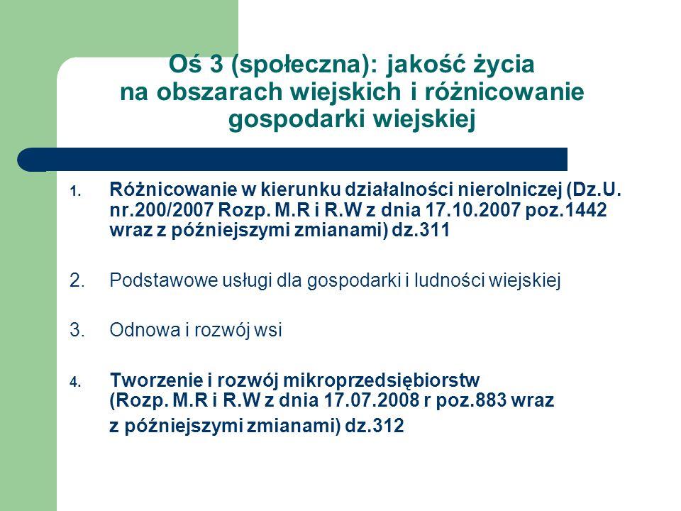 Oś 3 (społeczna): jakość życia na obszarach wiejskich i różnicowanie gospodarki wiejskiej 1. Różnicowanie w kierunku działalności nierolniczej (Dz.U.