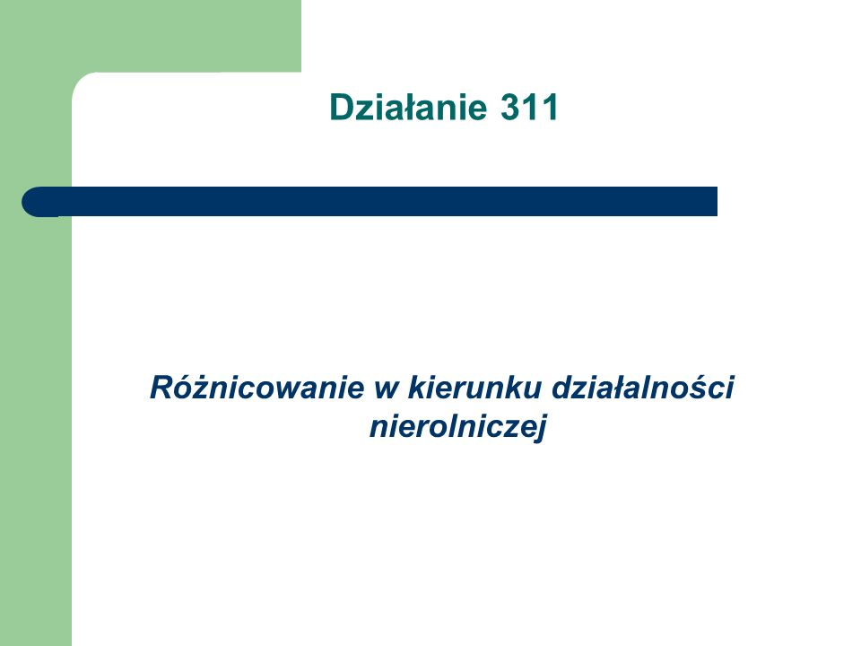 Działanie 311 Różnicowanie w kierunku działalności nierolniczej