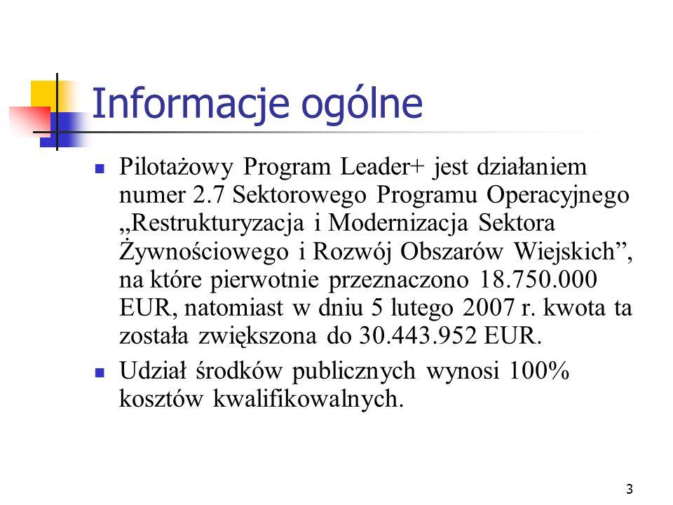 3 Informacje ogólne Pilotażowy Program Leader+ jest działaniem numer 2.7 Sektorowego Programu Operacyjnego Restrukturyzacja i Modernizacja Sektora Żyw